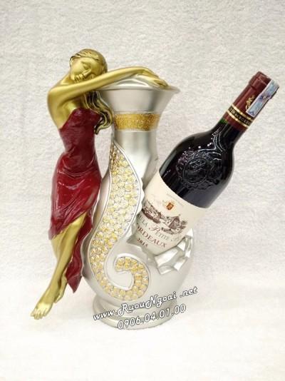 Kệ Rượu Vang Thiếu Nữ Bên Bình Hoa Ms 03
